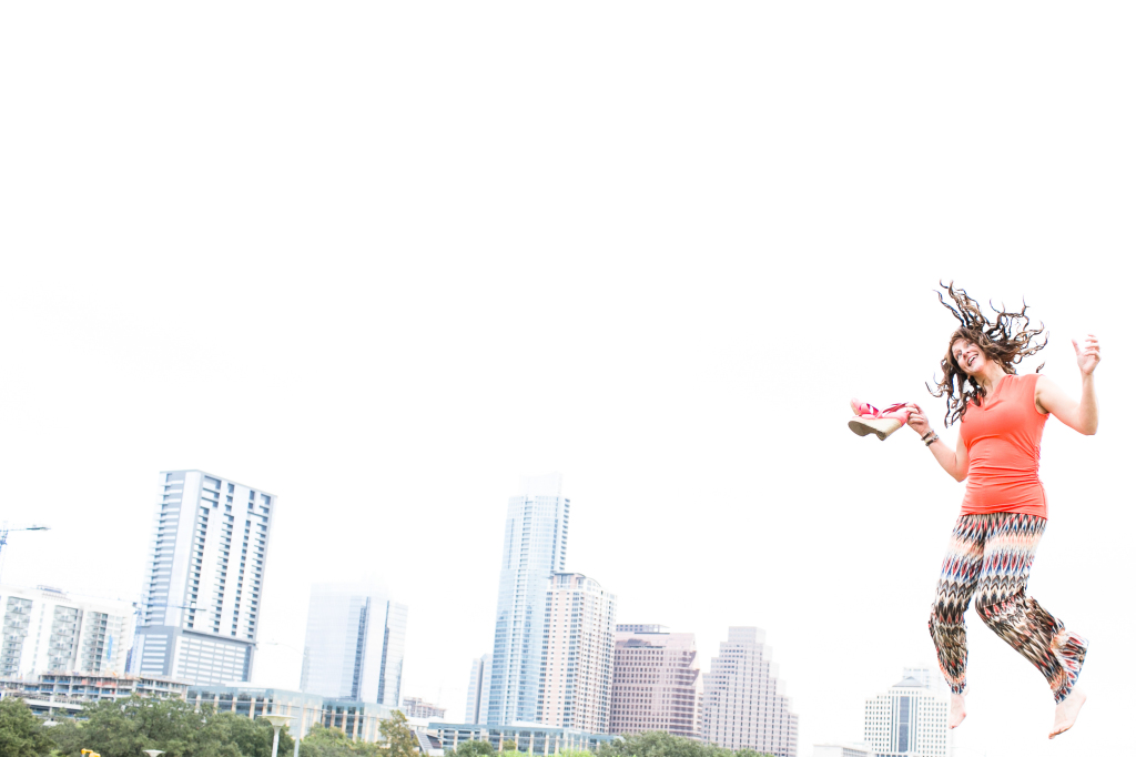 Ginger Craddock jumping for joy in Austin, TX
